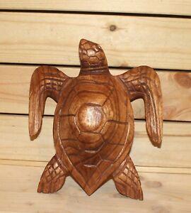 Vintage hand carving wood turtle figurine