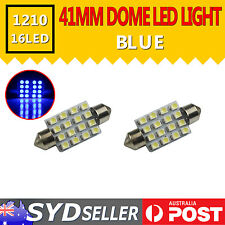 2x Festoon 41mm 16-SMD 1210 LED Blue Dome Car Interior Globe Light Lamp Bulb