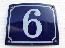 Vintage FRENCH Blue PORCELAIN DOOR HOUSE GATE Number Plate Sign 9 or 6