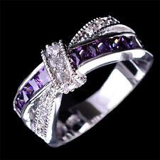 Amethyst & White Zircon 925 Silver Fashion Wedding Jewelry New Rings Size 6-12