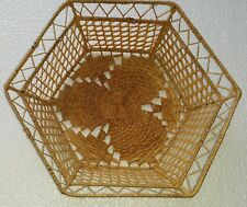 Vintage hand crafted 7 inch delicate weave wire & wicker basket