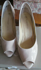PETER KAISER HIGH HEELS SIZE UK6.5 EUR 39.5 CRAKLE PATENT LEATHER PEEP TOE BEIGE