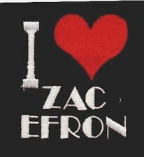 WHOLESALE  JOB LOT   x 50  ' I LOVE ( heart )  ZAC EFRON  embroidered patches