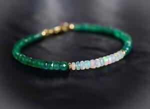 Natural Emerald & Opal Faceted Gemstone Beaded Bracelet 14k Gold Over Clasp 7.5'