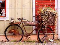 VINTAGE BIKE BICYCLE FLOWER BASKET FRENCH ART PRINT POSTER PICTURE BMP150B