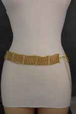 Women Gold Metal Chain Link Fashion Belt Hip High Waist Multi Strands Size S M