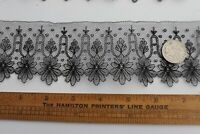 "Antique c1870 French Handmade Black Chantilly Lace Swatch~Dolls~L-34""XDepth 2.5"""