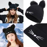 Womens Winter Warm Knitted Beanie Ski Soft Caps With Cute Cat Ear Crochet Hats