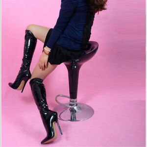 6.3 inches  High Height Sex boots  Stiletto Heel Knee High Boots US size 5-13.5