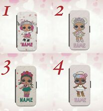 Personalised name initials gift for kids girls LoL Dolls 2 Wallet phone case