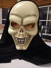 Halloween Hooded Plastic Skull Mask Scary Realistic Skeleton Looks Great