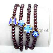 "3-4mm Round Natural Brown Garnet Bracelet for Women Long 27"" Blue Beads bra309"