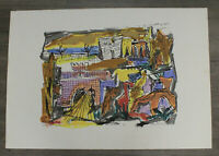 Marcel Janco Jewish Romanian Dada Color Lithograph View Tiberias 1945 Signed Art