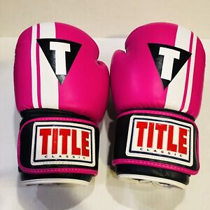 EUC TITLE Boxing Classic Pro Style Hook & Loop Training 14 oz Gloves Pink White