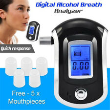 Breath Alcohol Tester Digital LCD Breathalyzer Analyzer AT6000 with 5 Mouthpiece