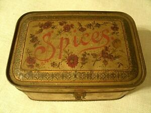 Antique Tin Litho Spice Box With Floral Design And Set Of 6 Round Spice Tins