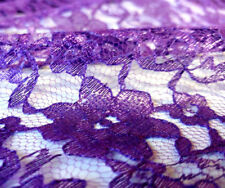 """Purple Raschel Lace Fabric 60"""" Polyester French Floral by the yard FREE SHIPPING"""