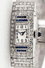 Antique 1920 Tiffany & Co 3ct Old Cut Diamond Sapphire Platinum Ladies Watch WTY