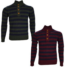 Gestreifte Herren-Pullover mit Knöpfen und feiner Strickart