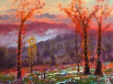 Oil Painting Original Landscape Western Art Impressionist Red Autumn MAX COLE