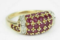 2 Ct Round Cut Red Ruby & Diamond Cluster Engagement Ring 14k Yellow Gold Over