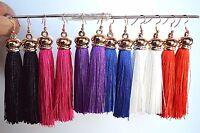 Rose Gold Tone Bohemian Fringe Boho Long Tassel Hook Dangle Earrings For Women