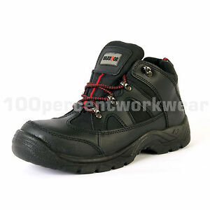Size UK 8 EU 42 Warrior MMB37 Black Leather Safety Work Trainer Boots Steel Toe