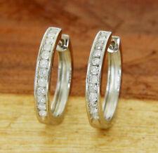 925 Sterling Silver 0.50 CT Diamond Hoop Earring»E220
