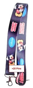 Disney and Various Lanyards with 25 Assorted Disney Trading Pins ~ NEW Lanyard