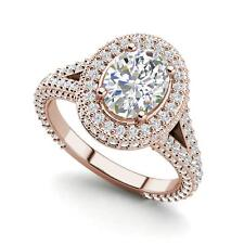 Cut Diamond Engagement Ring Rose Gold Pave Halo 3.35 Carat Vvs2/F Oval