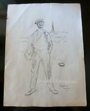 Roland COUDON (1897-1954) Rare Pen and Ink Drawing of Man in Paris Signed c1920s