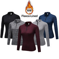 Women's Thermal Baselayer Shirts Fleece Lining Pullover Top Yoga Jogging Fitness