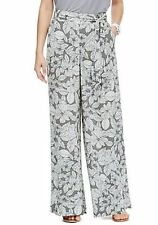 MARKS & SPENCER FUNKY GREY/WHITE FLORAL PALAZZO WIDE LEG PANTS SZE 8,10,,18,20