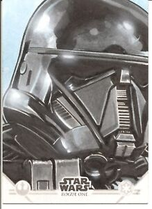 Star Wars Rogue One Series 2 Death Trooper by Charlie Cody Sketch Trading Card