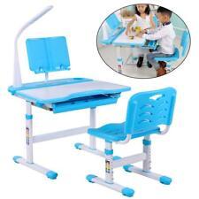Ergonomic Children Study Desk Chair Set Kids Table with Drawer Storage Blue