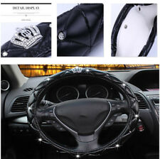 38CM Black PU leather Car Steering Wheel Cover Rhinestone Crystal Diamond Design