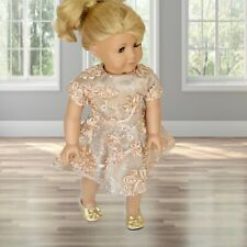 Golden Taupe Party Dress with Ribbon Flowers and Sequins for 18 inch Doll (fits