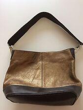 Tignanello Bronze Gold And Brown Leather Hobo Style Handbag