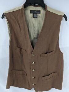 Banana Republic Men's Vest Small Brown Linen Button Front Lined 1270