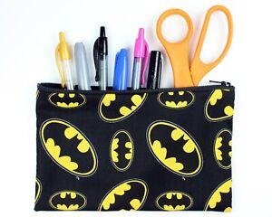 Batman Fabric Pencil Pouch - Batman Fabric Makeup Bag - MADE IN USA