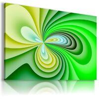 WAVES GREEN SPIRAL Abstract Modern Canvas Wall Art Picture Large BA23 MATAGA .