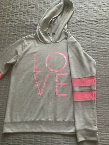 Ideology girls Activewear Long Sleeve Hooded T-Shirt silver and rose size m