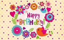 Geburtstagsteelicht Geburtstag Geburtstagkarte Kerze Happy Birthday ( Blumen )