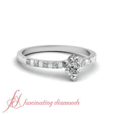 .70 Ct Pear Shaped Cut:Very Good Diamond Engagement Ring Bar Set Solid 14K Gold
