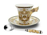 3 Piece Euro Porcelain Medusa Fine Bone China Tea Cup Set w/ Spoon - White Wing