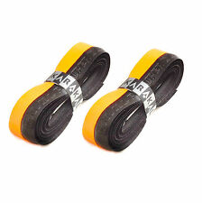 2 x Karakal Super DUO PU Replacement Grips Orange/Black Tennis Squash Badminton