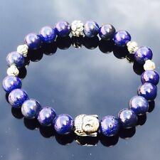 Spiritual Silver Buddha Lapis Lazuli Stretch Healing Chakra A+ OM Yoga Bracelet