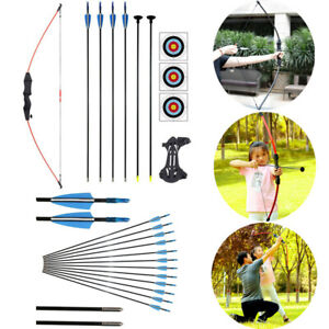 Youth Practice Recurve Bow and Arrow Set Garden Kid Archery Hunting Shooting Kit