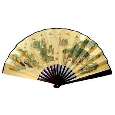 """ASIAN LANDSCAPE LARGE HAND FAN 13"""" Folding Wall Chinese Bamboo  Mountains River"""