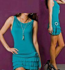 SeXy Volant Mini Kleid Gürtel Look + Kette 34/36/38 Freesize petrol TOP NEU